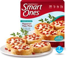 My favorite Weight Watchers® Smart Ones® meal. Satisfies my pizza cravings on a weekly basis! Pepperoni Pizza Minis - Weight Watchers® Smart Ones® Weight Watchers Smart Ones, Weight Watchers Meals, Quick Healthy Meals, Healthy Eating, Healthy Food, Frozen Appetizers, Dorm Food, Diet Recipes, Recipies