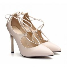 Yoins Apricot Leather Look Lace-up High Heels ($41) ❤ liked on Polyvore featuring shoes, pumps, heels, yoins, apricot, pointed toe stiletto pumps, vegan pumps, high heel stiletto pumps, stiletto heel pumps and stiletto pumps