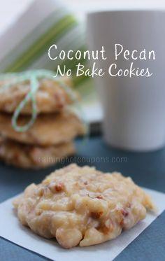 Coconut Pecan No Bake Cookies - Raining Hot Coupons