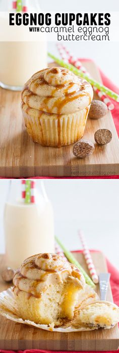 Moist and flavorful eggnog cupcakes are topped with a caramel eggnog buttercream in these festive and seasonal Eggnog Cupcakes with Caramel Eggnog Buttercream.