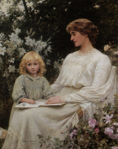 Portrait of a Mother and Daughter Reading a Book (1903). Edwin Harris (British, 1856-1906). Oil on canvas.