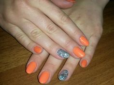 Arancione + brillantini argento