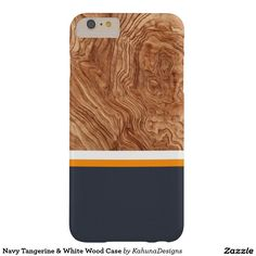 Navy Tangerine & White Wood Case Barely There iPhone 6 Plus Case
