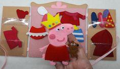 """Peppa pig felt clothes dress up dolls, quiet toy, paper dolls, Felt """"paper"""" doll dressing"""