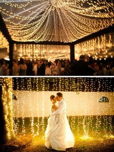I LOVE THIS! Would put lights like this in the two dinner pavilions in the reception!