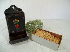 Vintage Hand Painted Metal Match Dispenser  Old by DivineOrders