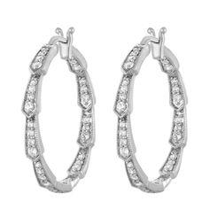 Diamond Jewelry Ct Diamond Hoop Earrings White Gold Round Cut Pave Set In Diamond Tennis Necklace, Diamond Hoop Earrings, Silver Hoop Earrings, Crystal Earrings, Diamond Jewelry, Onyx Necklace, White Gold Jewelry, Gold Jewellery, Glass Jewelry