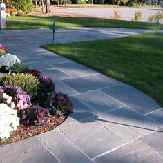 Bluestone pavers suppliers - Quarry Direct from Pennsylvania and NY for patios walkways residential commercial - Cape Cod to California Front Yard Walkway, Outdoor Walkway, Paver Walkway, Outdoor Landscaping, Front Yard Landscaping, Walkway Ideas, Paver Sidewalk, Landscaping Ideas, Front Porch
