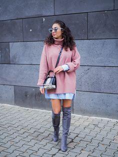 layering look turtleneck oversized sweater shirtdress winterlook fall outfit dorothy perkins grey overknees suede overknee boots streetstyle samieze fashionblogger modeblog berlin