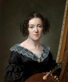 """Autoritratto (1839). Elisa Counis(Italian, 1812-1847).  Included in the exhibition,AUTORITRATTE,""""Artiste di capriccioso e destrissimo ingegno.""""Galleria degli Uffizi.Sala delle Reali Poste."""