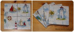 Ceramic Tile Coasters in a lovely nautical theme Set of Four 10cm x10cm with gloss finish Felt backed Water resistant - wipe clean only Not suitable for dish washer These are a fabulous addition to any home and make wonderful gifts ONE SET OF FOUR IN STOCK AND READY TO POST