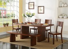 That's Rich. The Austin dining room collection's two-tone, dark brown and cherry finish is richly warm, and the pine wood and hardwood veneers provide romantic graining and longevity for years of stylish use. The clean lines extend from the double-pedestal table base with fixed wood top to the matching bench and open-back side chairs. You'll feel like a million bucks dining in this furniture. Customer assembly is required. Six-piece package includes table, four chairs and bench, as shown.