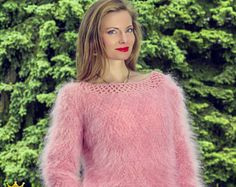 Summer pink light mohair sweater with crochet handmade boatneck by SuperTanya
