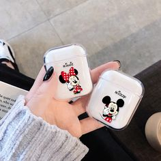 For Airpods Case Cute Cartoon Transparent Hard Wireless Bluetooth Earphone Case For Apple Air pods Charging Headphone Box Iphone Cases Disney, Iphone Phone Cases, Cute Ipod Cases, Cute Headphones, Accessoires Iphone, Earphone Case, Headphone Holder, Air Pods, Airpod Case