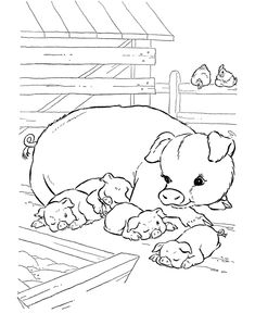 farm animal coloring pages | Farm Animal Coloring Pages | Printable Pigs napping Coloring Page and ...