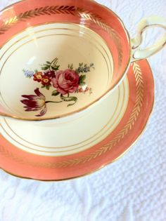 Antique Aynsley Tea Cup and Saucer Oban Shape Tea Party Fine Bone China Made in England  Ca. 1950's