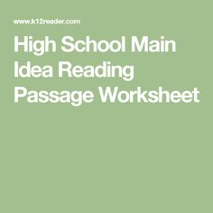 Middle School Main Idea Reading Passage Worksheet | Worksheets ...