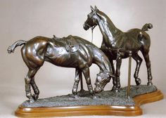Pony Lines; A limited edition bronze sculpture by Gill Parker