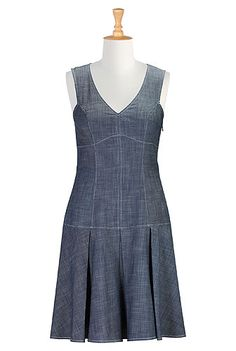 Drop waist A-line chambray dress. I'd love this with sleeves! Chambray Dress, Custom Dresses, Drop Waist, I Dress, Blouse Designs, Fit And Flare, Plus Size Fashion, Designer Dresses, Ready To Wear