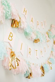 Modern gold + pastel birthday party decor: Photography : Meg Cooper Photography Read More on SMP: http://www.stylemepretty.com/living/2016/03/11/modern-gold-pastel-1st-birthday-party-filled-with-diys/