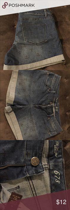 Cute denim shorts! Denim shorts with anchor detail. The Limited Denim 678. The Limited Shorts Jean Shorts