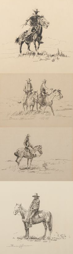 William Hill (1922 - 2009) pen and ink drawings of western scenes by William 26c191719e
