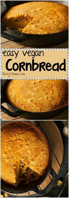 recipe for vegan cornbread is so easy. Its a soft, fluffy bread with just the right amount of yummy.This recipe for vegan cornbread is so easy. Its a soft, fluffy bread with just the right amount of yummy. Vegan Foods, Vegan Dishes, Vegan Meals, Vegan Recetas, Vegan Cornbread, Cornbread Recipes, Whole Food Recipes, Cooking Recipes, Breakfast