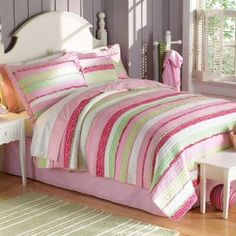 The Anna's Ruffle Pink Twin quilt measures 68