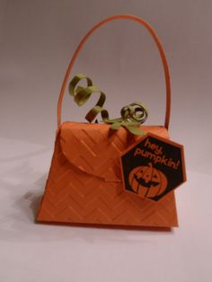 Chevron embossing folder, Petite Purse Die Supplies.  Directions to make this pumpkin treat holder: http://stampingcontact.com/september-hostess-group-projects/