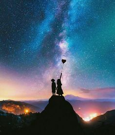 Photo Expert Creates Dreamy Fairytale Images of Animals in Unexpected Environments Couple Wallpaper, Love Wallpaper, Galaxy Wallpaper, Wallpaper Backgrounds, Wallpaper Space, Black Wallpaper, Night Sky Wallpaper, Galaxy Art, Galaxy Space