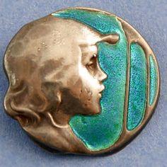 Silver enamel Arts & Crafts Kate Harris button.
