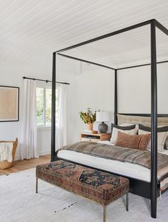 Caitlin And Emily Argue About Canopy Beds (And Discover The Secret To Making Them Work With Regular Height Ceilings) - Emily Henderson Modern Master Bedroom, Modern Bedroom Design, Master Bedroom Design, Home Bedroom, Bedroom Decor, Bedroom Ideas, Contemporary Bedroom, Bedroom Designs, Bedroom Retreat