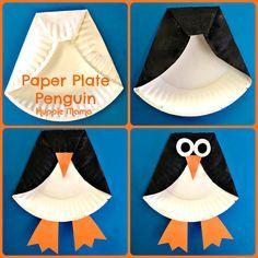Ingenioso pingüino realizado con un plato de plástico reciclado que se ha doblado, se ha pegado y se ha pintado. Además se le ha añadido trozos de cartulina que representan las patas.