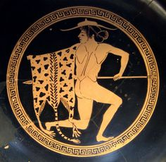 Young greek peltast. Cup made by Onésimos, Staatliche Antikensammlungen of Munich.