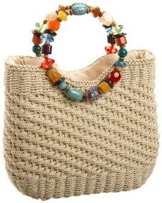 """New Cheap Bags. The location where building and construction meets style, beaded crochet is the act of using beads to decorate crocheted products. """"Crochet"""" is derived fro Bag Crochet, Mode Crochet, Crochet Handbags, Crochet Purses, Straw Handbags, Purse Handles, Macrame Bag, Boho Bags, Craft Bags"""