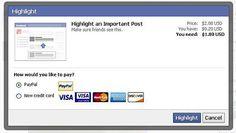 """11/05/2012 Facebook """"Highlight"""": Aktuell testet Facebook ein neues Feature mit einem sehr kleinen Nutzerkreis : Private User können Geld dafür bezahlen, dass ein privates Status Update häufiger im Newsfeed der Freunde angezeigt wird."""