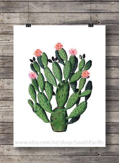 Printable art | Cactus Vintage botanical illustration - Cactus cacti Printable wall art  - Instant download digital print