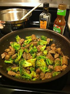 Szechuan Beef & Broccoli. This is one of my all time FAVORITE healthy recipes! We made it the other night. We love it! It is from the Biggest Loser Family Cookbook. So good and so easy!