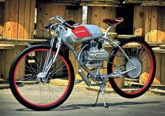 Derringer Cycle  Top speed: 35mph Engine type: 49.4cc air-cooled OHV pull-start single, 41.8mm x 36mm bore and stroke, 8:1 compression ratio, 2.1hp @ 7,800rpm (at countershaft) Transmission: Direct drive with 5:1 gear reduction, centrifugal mechanical clutch