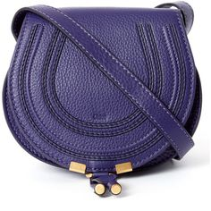 Chloe Small Purple Marcie Leather Saddle Bag (11978855 BYR) ❤ liked on Polyvore featuring bags, handbags, shoulder bags, leather shoulder handbags, leather shoulder bag, leather crossbody, blue shoulder bag and cross body purse