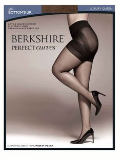 Berkshire Queen Perfect Curves Bottoms Up Pantyhose, Utopia, Queen Petite. Pantyhose. Lifts and shapes bottom. Flattens tummy. Super sheer leg. Provides a hint of color.