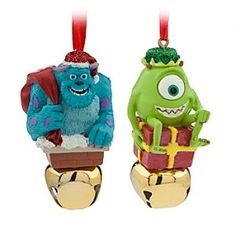 It's jingle all the way with Santa Sulley and Mike as the two scarers ring in the holidays with this two-piece ornament set. Finely detailed figurines of the <i>Monsters, Inc.</i> characters come perched atop working jingle bells.