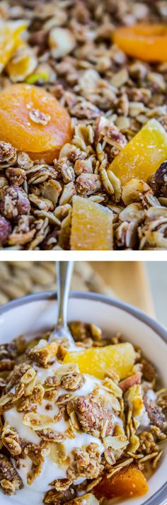 Tropical Mango Coconut Granola from The Food Charlatan. Coconut almonds and  macadamia nuts are baked with lots of oats, coconut oil, honey, spices, and a little bit of lime to brighten things up. My kids love this!
