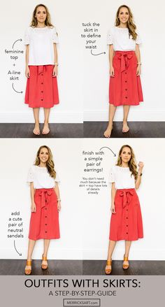Summer outfits with skirts: a step by step guide A Line Skirt Outfits, Modest Outfits, Modest Fashion, A Line Skirts, Casual Outfits, Cute Outfits, Summer Skirt Outfits, Emo Fashion, Fall Outfits