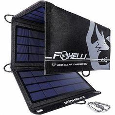 Foxelli Dual USB Solar Charger - Foldable Solar Panel Phone Charger for iPhone X, iPad Android, Galaxy Edge More, Portable Solar Power Charger for Camping Outdoors Portable Solar Power, Portable Solar Panels, Best Solar Panels, Solar Energy System, Solar Panel Charger, Kit S, Solar Roof, Solar Projects, Solar Panel Installation