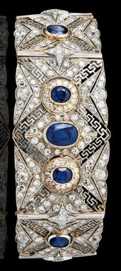An early 20th century platinum, gold, diamond and sapphire bracelet. #vintage #bracelet