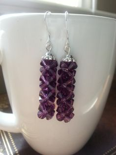 Amethyst Earrings - Swarovski Crystal, Purple Earrings, February Birth Crystal, Birthstone, Rock Candy by CrystallureDesigns on Etsy