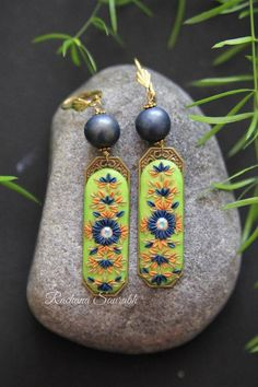 Handmade Crafts, Handmade Jewelry, Unique Jewelry, Monthly Challenge, Golden Yellow Color, Blue Beads, Polymer Clay Earrings, Bead Art, Victorian Fashion