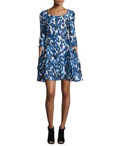 W0BM3 Carolina Herrera 3/4-Sleeve Petal-Print Mikado Dress, Cobalt/White