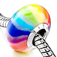 European Beads - rainbow color stripes polymer clay murano glass style pandora beads Image.